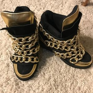 Jeffrey Campbell Almost Wedge Sneakers GoldChains